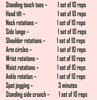 warm up exercise for lose 1 kg weight in seven days